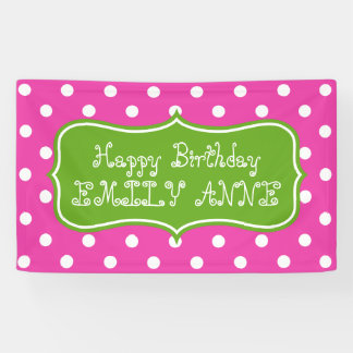Diva Pink and Green Apple Polka Dot Personalized Banner