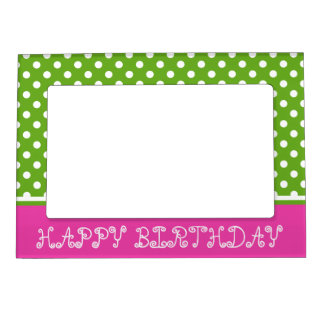 Diva Pink and Green Apple Polka Dot Personalized Magnetic Frame