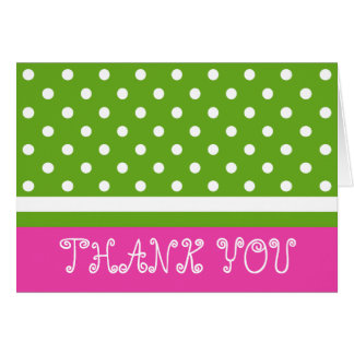 Diva Pink and Green Apple Polka Dots Thank You Card