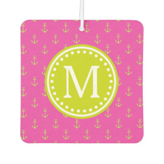 Diva Pink and Lime Green Anchor Monogram Car Air Freshener