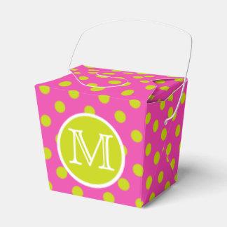 Diva Pink and Lime Green Polka Dot Monogram Favour Box