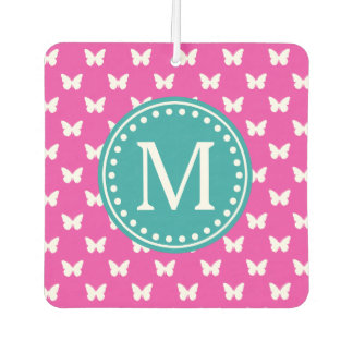 Diva Pink and Turquoise Butterfly Monogram