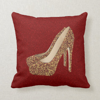 Diva Red Glitter Bling | Glam Gold High Heel Shoes Cushion