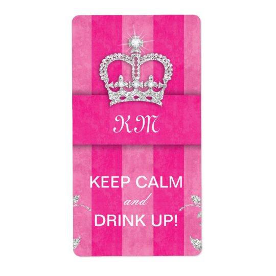 Diva Wine Label Crown Pink Stripes