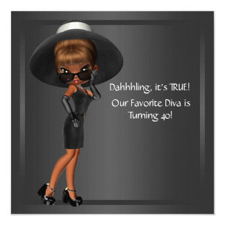 Diva Womans African American Birthday Party Custom Announcement