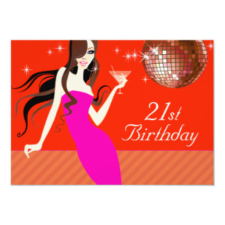 """Divalicious Cocktails 21st Birthday Party 5"""" X 7"""" Invitation Card"""