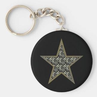 Divalicious Collection Zebra print star Keychain