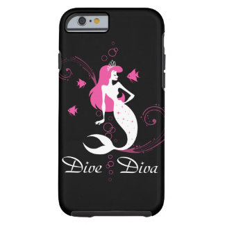"""Dive Diva"" Pink Mermaid iPhone 6 case (black)"