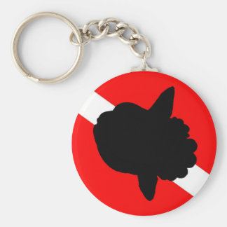Dive Flag Sunfish Basic Round Button Key Ring