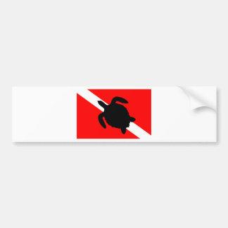Dive Flag Turtle III Bumper Sticker