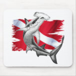 Dive flag with hammerhead shark-diver down