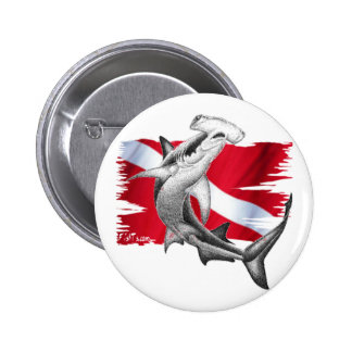 Dive flag with hammerhead shark-diver down 6 cm round badge