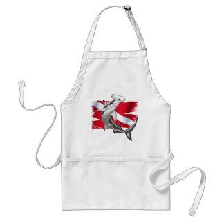 Dive flag with hammerhead shark-diver down apron