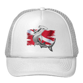 Dive flag with hammerhead shark-diver down mesh hat