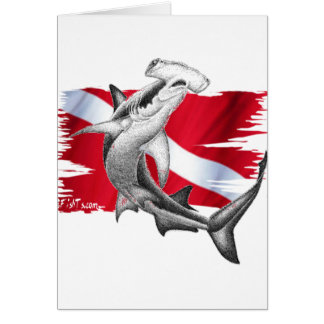 Dive flag with hammerhead shark-diver down greeting card