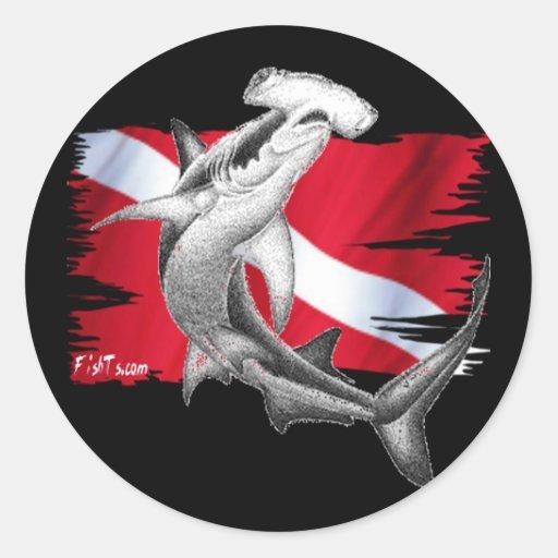 Dive flag with hammerhead shark-diver down sticker