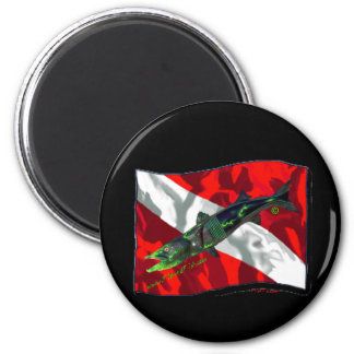 Dive Flags with Gear 6 Cm Round Magnet