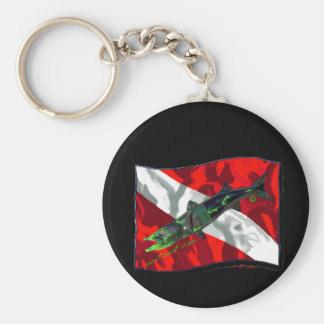 Dive Flags with Gear Basic Round Button Key Ring