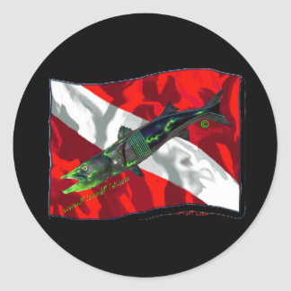 Dive Flags with Gear Round Sticker
