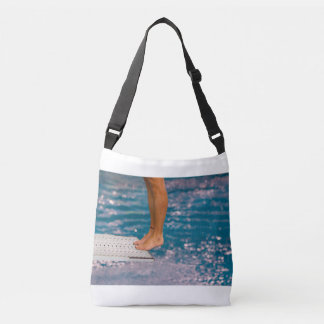 dive from diving board on cross body bag