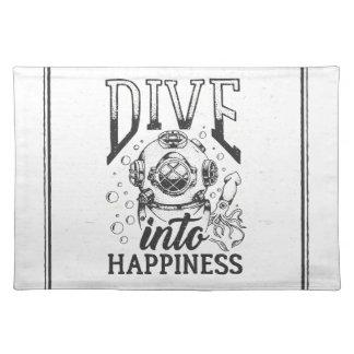 Dive into happiness motivational scuba diving place mat