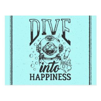 Dive into happiness motivational scuba diving postcard