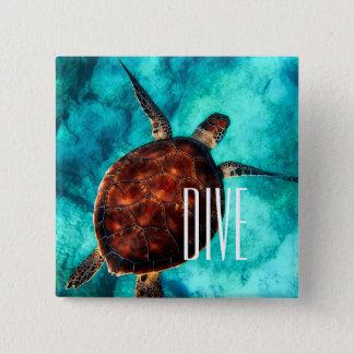 Dive Sea Turtle 15 Cm Square Badge