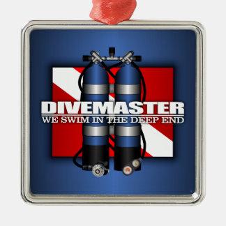 Divemaster (Scuba Tanks) Silver-Colored Square Decoration
