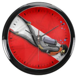 Diver And Dive Flag Aquarium Clock
