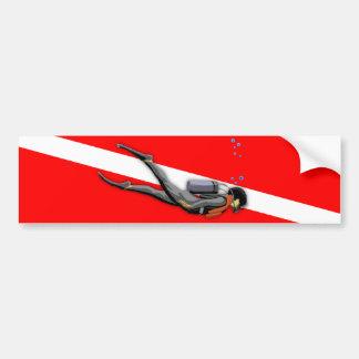 Diver And Dive Flag Car Bumper Sticker