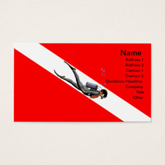 Diver And Dive Flag Business Card