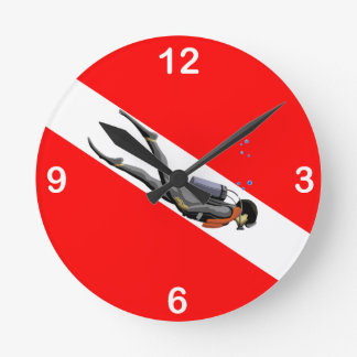 Diver And Dive Flag Round Wall Clocks