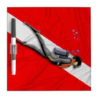 Diver And Dive Flag Dry-Erase Board