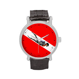 Diver And Dive Flag Wrist Watch