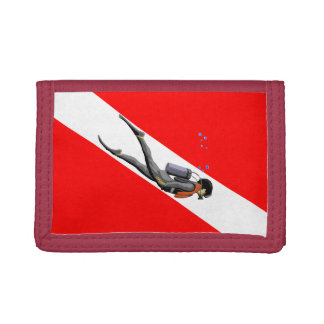 Diver And Dive Flag Wallet