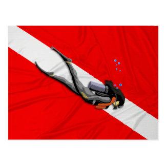 Diver And Wrinkled Dive Flag Post Card