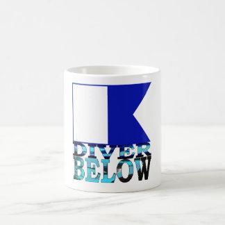 diver below blue coffee mug