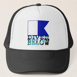 diver below blue trucker hat