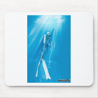 diver deep blue on ocean cartoon style mouse pad