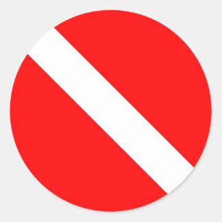 Diver Down Classic Flag Round Sticker
