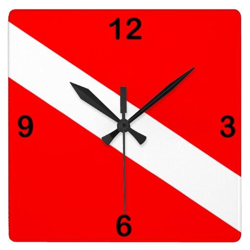 Diver Down Flag Wall Clock