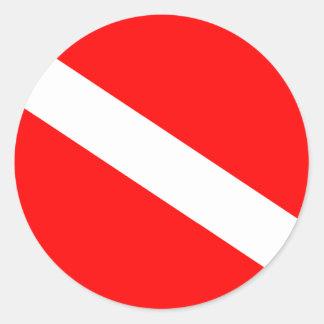 Diver Down Flag Round Sticker