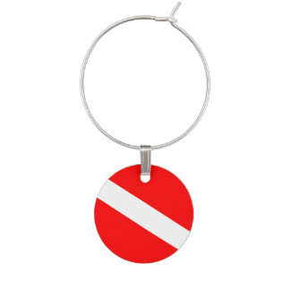 Diver Down Flag Wine Charms