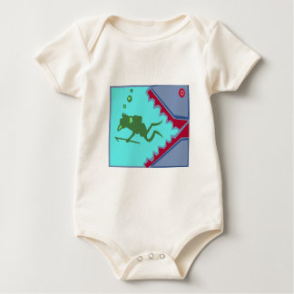 Diver in danger of Shark Teeth Attack Graphic gift Baby Creeper