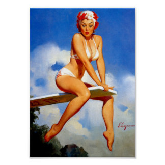 Diver Pin Up Poster