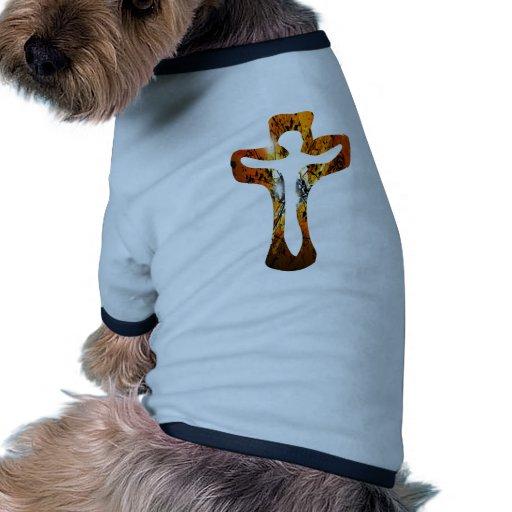 Divers 3 Christ sur Croix Effets braise TIF Pet Tee Shirt