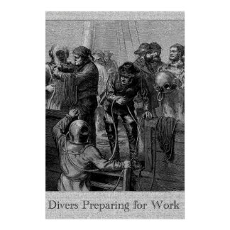 Divers Preparing for Work 36 x 24 Poster