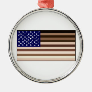 Diversity Flag Silver-Colored Round Decoration