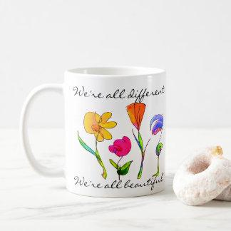 Diversity We Are All Beautiful Hand Drawn Flowers Coffee Mug