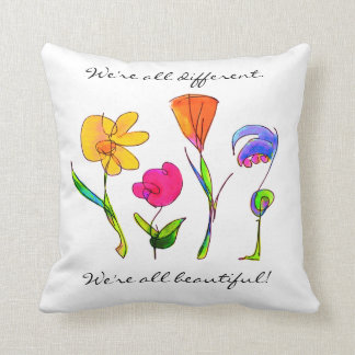 Diversity We Are All Beautiful Hand Drawn Flowers Cushion